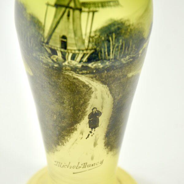 Michel Nancy art nouveau glass vase in absinthe green c1900 (1)