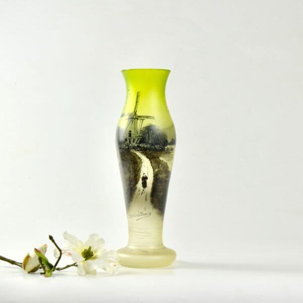 Michel Nancy art nouveau glass vase in absinthe green c1900