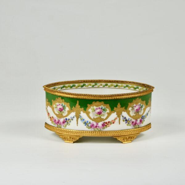 Sèvres jardinière 19thc French porcelain gilt bronze miniature (2)