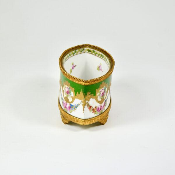 Sèvres jardinière 19thc French porcelain gilt bronze miniature (3)