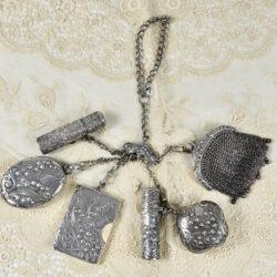 Silver Chatelaine Art Nouveau mistletoe 900 6 piece Prudent Quitte 1900
