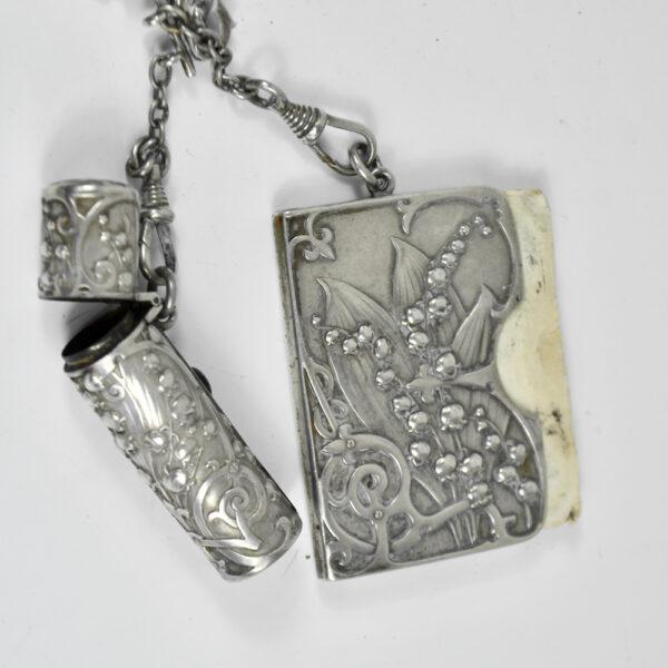 Silver Chatelaine Art Nouveau mistletoe 900 6 piece Prudent Quitte 1900 b