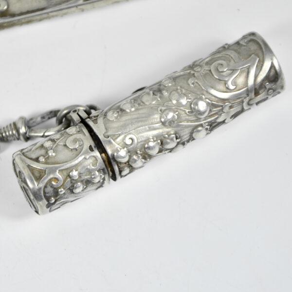 Silver Chatelaine Art Nouveau mistletoe 900 6 piece Prudent Quitte 1900 c