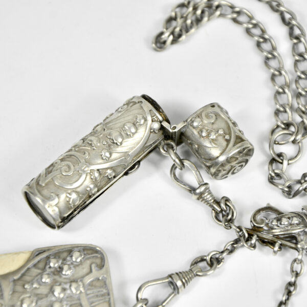 Silver Chatelaine Art Nouveau mistletoe 900 6 piece Prudent Quitte 1900 e