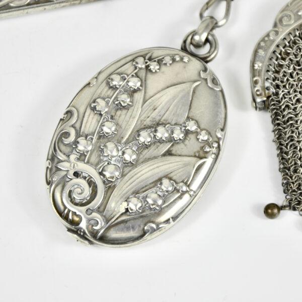 Silver Chatelaine Art Nouveau mistletoe 900 6 piece Prudent Quitte 1900 f (1)