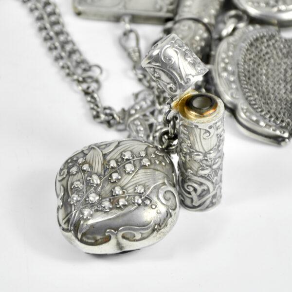 Silver Chatelaine Art Nouveau mistletoe 900 6 piece Prudent Quitte 1900 f