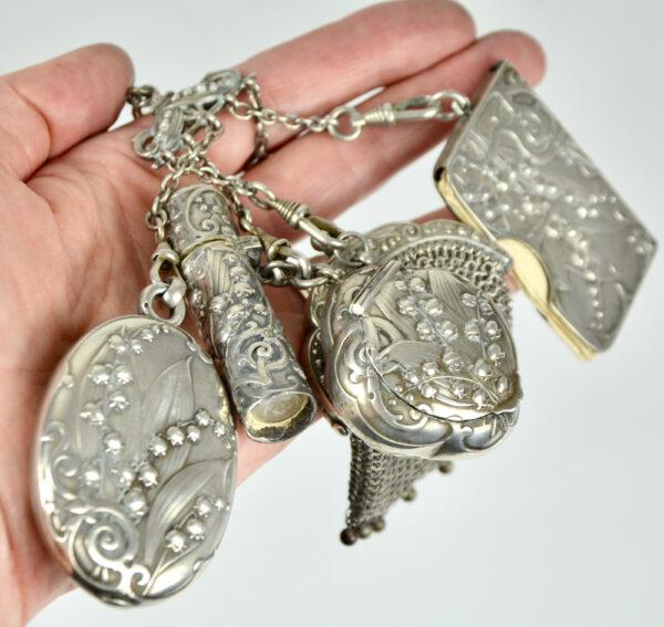 Silver Chatelaine Art Nouveau mistletoe 900 6 piece Prudent Quitte 1900 g