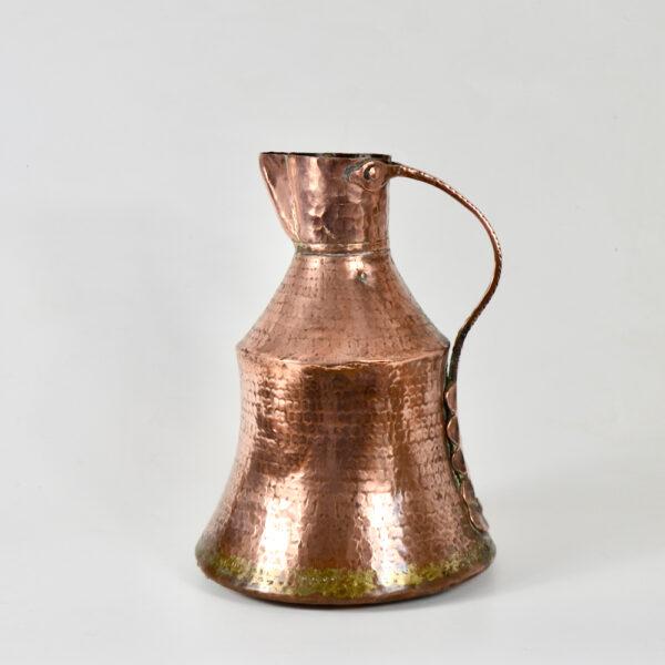 antique hammered copper pitcher dovetail seams 19thc ewer large jug (1)
