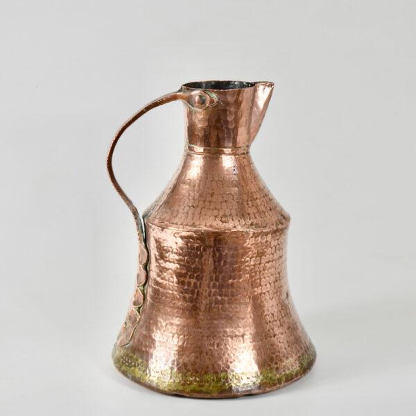 antique hammered copper pitcher dovetail seams 19thc ewer large jug (3)