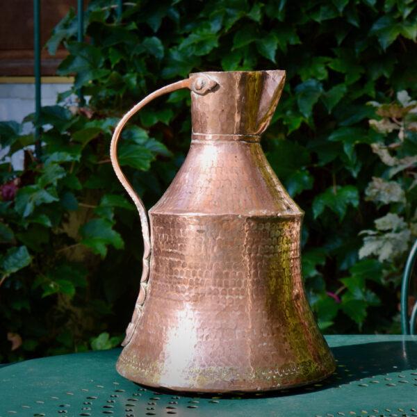 antique hammered copper pitcher dovetail seams 19thc ewer large jug