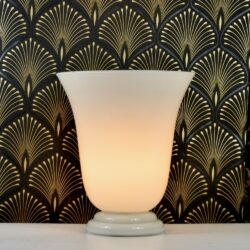 1980s table lamp in white opaline glass large vintage glass lamp (1)