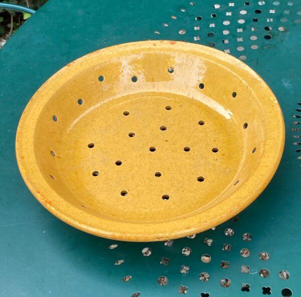 antique french terracotta fruit strainer sieve glazed
