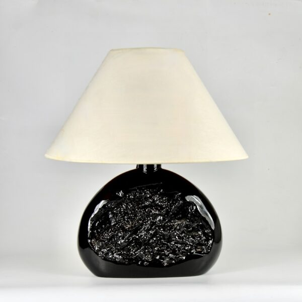 large 1970s modernist table lamp in black glass 1980s (2)